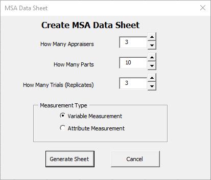 Variable MSA setup