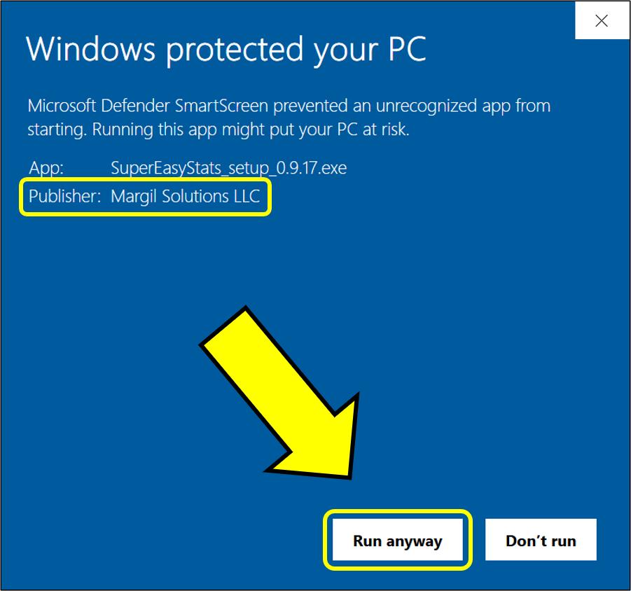 Windows download warning