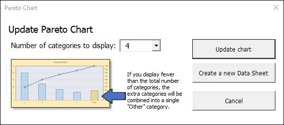 Pareto chart dialog box